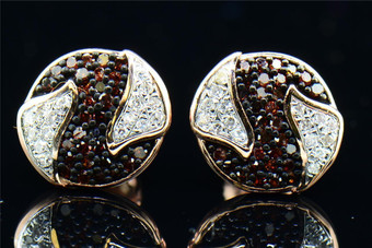 Red Diamond Yin Yang Earrings 10K Rose Gold Round Cut Pave Studs 0.21 Tcw.
