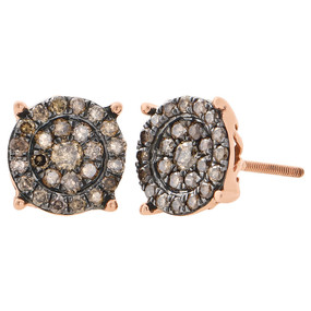 10K Rose Gold Brown Diamond Studs Ladies 10mm Circle Flat Earrings 1 Ct.