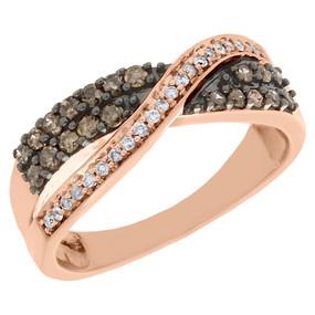 10K Rose Gold Brown Diamond Swirl Wedding Band Bypass Anniversary Ring 0.49 Ct.