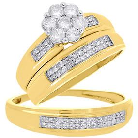 14K Yellow Gold Flower Diamond Trio Set Matching Engagement Ring & Band 0.65 Ct.
