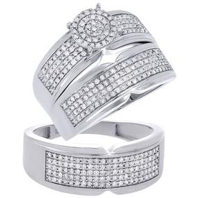 10K White Gold Real Diamond Trio Set Matching Engagement Ring Wedding Band 1 Tcw