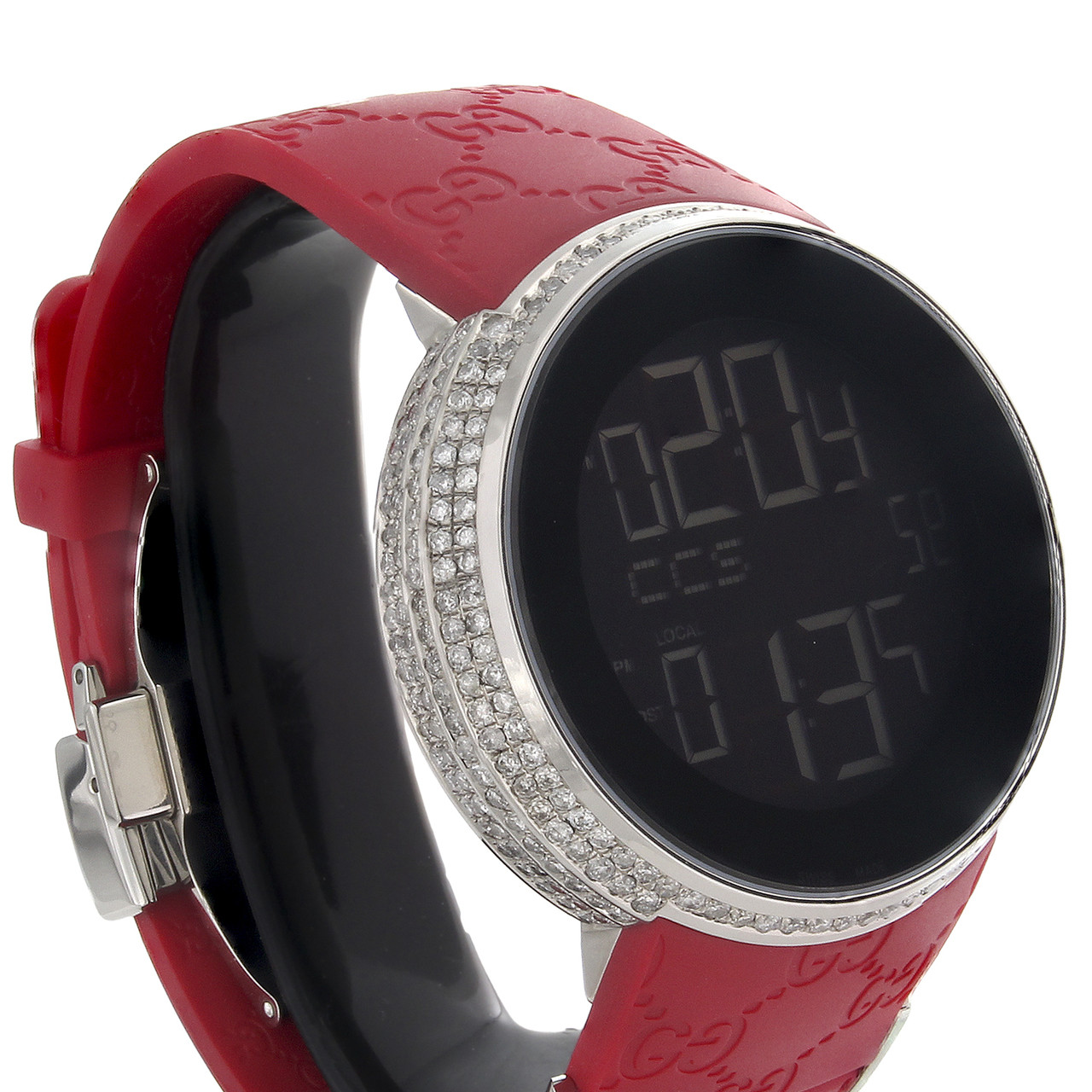 91d4a12b25d ... Gucci Diamond Watch YA114212 Custom Full Case Digital Red I-Gucci Band  4 CT. Image 1