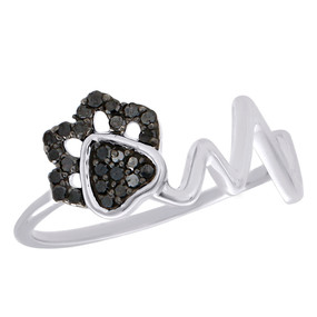 .925 Sterling Silver Black Diamond Heartbeat Ring Ladies Flower Band 0.17 CT.