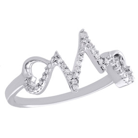 .925 Sterling Silver Diamond Heartbeat Ring Ladies Double Heart Band 1/10 CT.