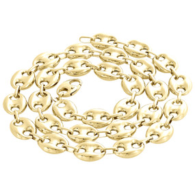 4a6a551c7 Real 10K Yellow Gold 3D Hollow Puff Gucci Link Chain 12mm Necklace 22-30  Inches