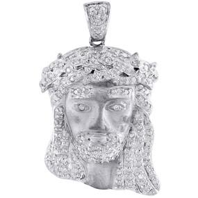 10k White Gold Diamond Teardrop Mini Jesus Piece Head Cross Pendant 0.26 Ct.