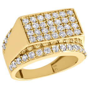 Real 10K Yellow Gold & Cubic Zirconia Rectangle Top Pinky Ring Mens Band 15mm
