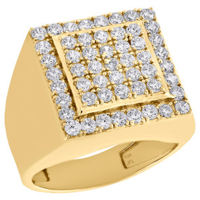 Real 10K Yellow Gold & Cubic Zirconia Tier Square Top Pinky Ring Mens Band 18mm