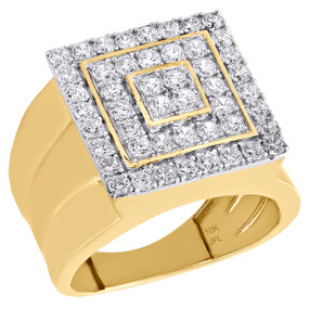 Real 10K Yellow Gold & Cubic Zirconia Tiered Wide Top Pinky Ring Mens Band 17mm