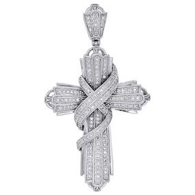 10K White Gold Genuine Diamond Swirl Curtain Cross Pendant Pave Charm 0.60 Ct.