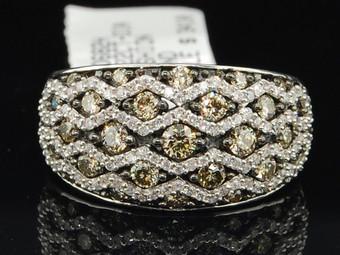 10K LADIES WHITE GOLD CHAMPAGNE BROWN DIAMOND ENGAGEMENT RING WEDDING BAND SET