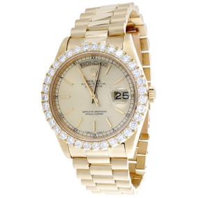 Mens 18K Yellow Gold 36mm Rolex Day-Date President 18038 Diamond Watch 3.50 CT.