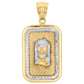 "10K Yellow Gold Two Tone Diamond Cut Jesus Face Square Frame Pendant 1.6"" Charm"