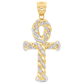 10K Yellow Gold Diamond Cut Miami Cuban Link Border Ankh Cross Pendant Charm 2""