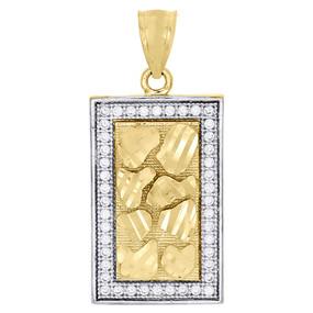 10K Yellow Gold Square Frame Pendant Ore Nugget Design Simulated Diamond Charm