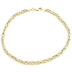 Mens Genuine 10K Yellow Gold Hollow Byzantine Box Link Weave Bracelet 3mm | 9""