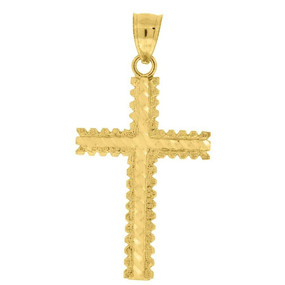 10K Yellow Gold Diamond Cut Cross Pendant 1.55Š— Textured Charm