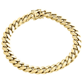 Mens Real 10K Yellow Gold 9mm Solid Miami Cuban Link Fancy Bracelet Box Clasp 9""