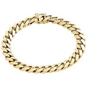 Mens Genuine 10K Yellow Gold 11mm Solid Miami Cuban Link Bracelet  Box Clasp 9""