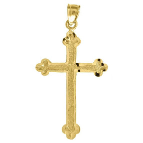 10K Yellow Gold Plain Cross Pendant 1.65Š— Textured Charm
