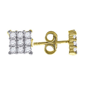 "10K Yellow Gold Three Row Square CZ 0.26"" Stud Push Back Earrings"
