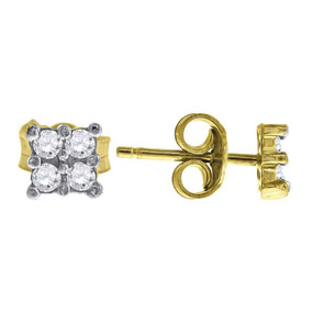 "10K Yellow Gold Square CZ 0.24"" Stud Push Back Earrings"