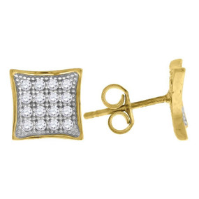 "10K Yellow Gold Square Pave CZ 0.37"" Stud Push Back Earrings"