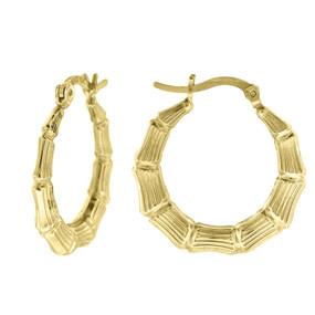 "10K Yellow Gold Bamboo Hinged Hoop 0.94"" Fashion Earrings"