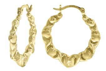 "10K Yellow Gold Satin Finish Puffed Heart Hinged Hoop 0.92"" Fashion Earrings"