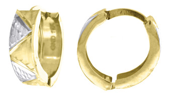 "10K Yellow Gold Diamond Cut Hinged Hoop 0.55"" Fashion Earrings"