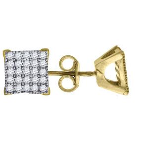 "10K Yellow Gold Square Pave CZ 0.33"" Stud Push Back Earrings"