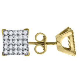 "10K Yellow Gold Square Pave CZ 0.33"" Stud Push Back Earrings"
