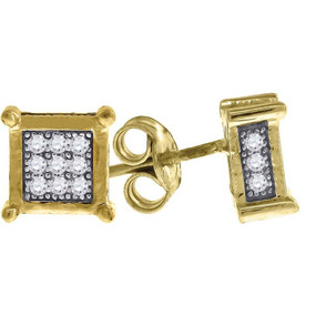 "10K Yellow Gold Pave CZ 4 Prong 3D Square 0.28"" Stud Push Back Earrings"