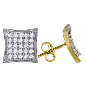 "10K Yellow Gold Kite Pave CZ 0.45"" Stud Push Back Earrings"
