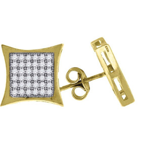 "10K Yellow Gold CZ Kite 0.56"" Studs Push Back Earrings"