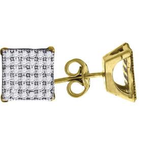 "10K Yellow Gold Square Pave CZ 0.39"" Stud Push Back Earrings"