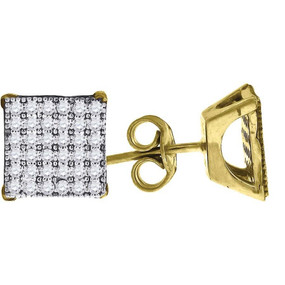 "10K Yellow Gold Square Pave CZ 0.39"" Stud Push Back Earrings"