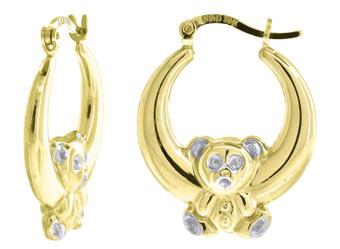 "10K Yellow Gold Puffed Teddy Bear Hinged Hoop 1.03"" Fashion Earrings"