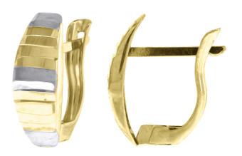 "10K Yellow Gold Two Tone Diamond Cut Huggie Hoop 0.54"" Fashion Earrings"