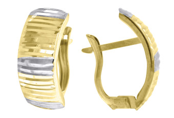 "10K Yellow Gold Two Tone Diamond Cut Huggie Hoop 0.67"" Fashion Earrings"