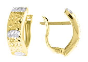 "10K Yellow Gold Two Tone Diamond Cut Huggie Hoop 0.66"" Fashion Earrings"