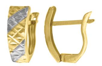 "10K Yellow Gold Two Tone Diamond Cut Huggie Hoop 0.56"" Fashion Earrings"