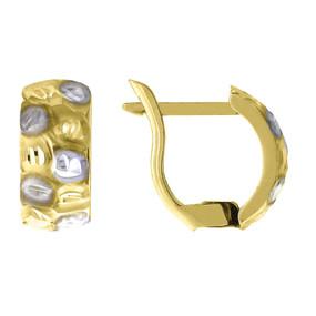 "10K Yellow Gold Two Tone Diamond Cut Satin Finish Huggie Hoop 0.48"" Fashion Earr"