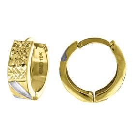 "10K Yellow Gold Two Tone Diamond Cut Satin Finish Huggie Hoop 0.55"" Fashion Earr"