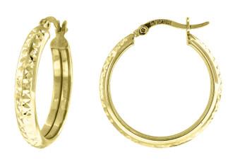 "10K Yellow Gold Diamond Cut Hinged Hoop 0.93"" Fashion Earrings"