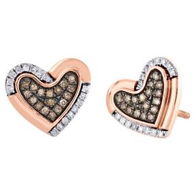10K Rose Gold Brown Diamond Heart Spae Sutds 11mm Ladies Pave Earrings 1/4 CT.