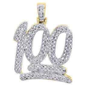 "10K Yellow Gold Real Diamond 100 Emoji Logo Pendant Mini Mens 1.20"" Charm 1/2 CT"