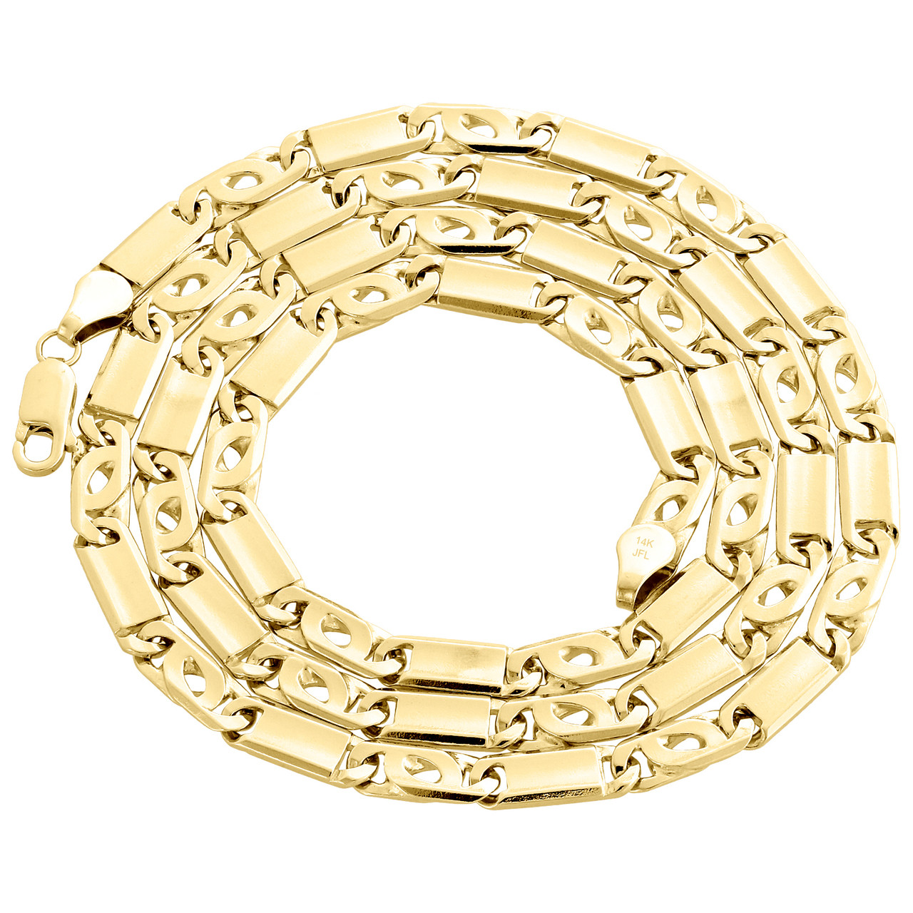 90aa92574a9c0 Solid Mens 14K Yellow Gold Fancy Tiger Eye Bar Link Chain 5.60mm Necklace  26