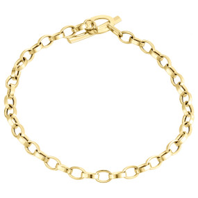 Womens Real 14K Yellow Gold Rolo Link Fancy Toggle Bar Charm Bracelet 4mm | 7""