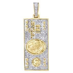 "10K Yellow Gold Diamond $100 One Hundred Dollar Bill Pendant 1.6"" Charm 0.45 CT."